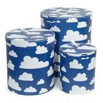 Storage box color & shape cardboard jar clouds 3-Pack Blue