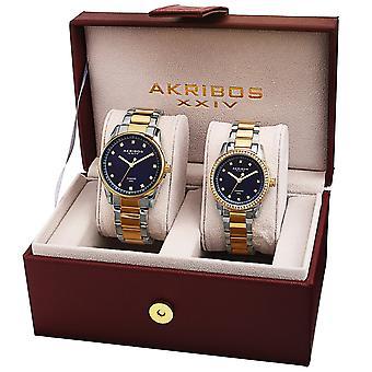 Akribos XXIV AKS191096TTBU-S His & Hers Quartz Diamond Bravcelet Watch Set