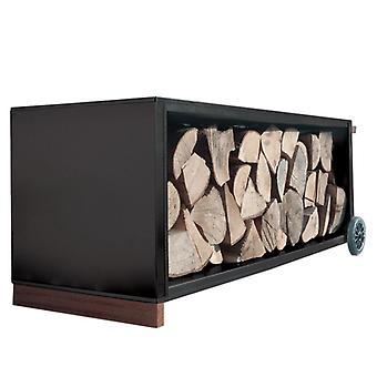 RAGGIO camino legno carro nero camino in acciaio legno rack mobile - 470 b