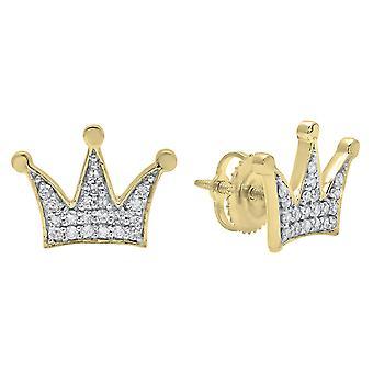 Dazzlingrock Collection 0.20 Carat (ctw) 14K Round White Diamond Ladies Crown Earrings 1/5 CT, Yellow Gold