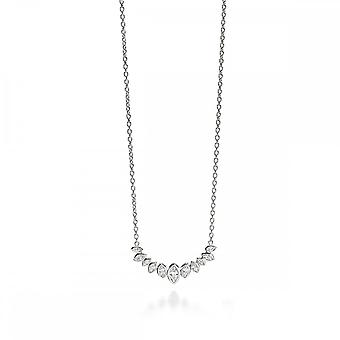 Fiorelli Silver Clear Zirconia Crystal Marquise Cluster Row Necklace N3906C
