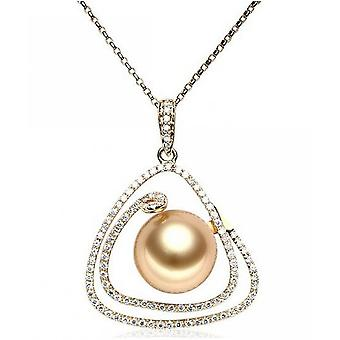 Luna-Pearls Diamond Pendant with Golden South Sea Pearl AH26