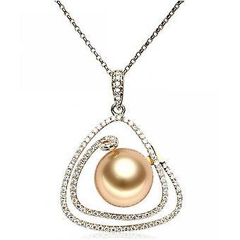 Luna-parels Diamond Pendant met gouden South Sea Pearl AH26
