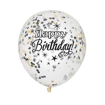 Único partido claro 12 pulgadas cumpleaños brillante confeti globos (paquete de 6)