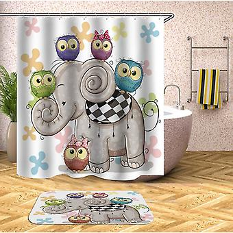 Adorable Owls And Elephant Shower Curtain