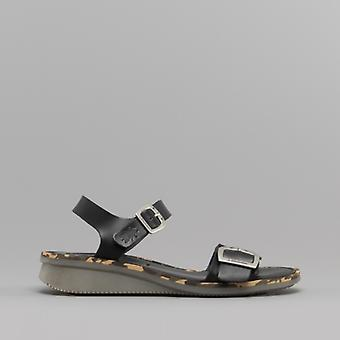 Fly London Comb230fly Ladies Leather Sandals Black