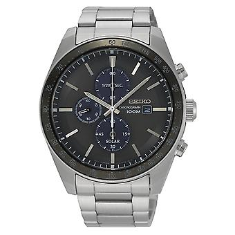 Seiko Solar Chronograph Stainless Steel Black Dial Men's Watch SSC715P1 43mm