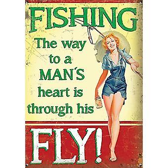 Fiske vägen till en mans hjärta är genom hans flyga små stål logga 200 X 150 Mm