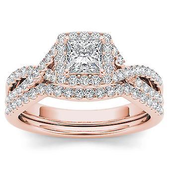 Igi gecertificeerd 14k roségoud 1 ct prinses geslepen diamant halo verlovingsring set
