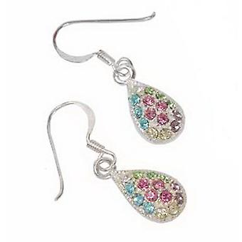 Set of 3 Sterling Silver Multi Colour Crystal Tear Drop Earrings by TOC