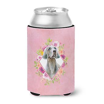 Carolines Treasures  CK4191CC Weimaraner Pink Flowers Can or Bottle Hugger