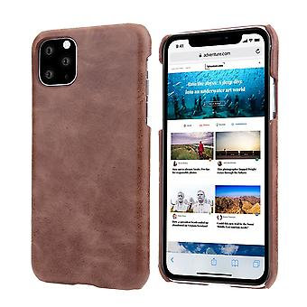 For iPhone 11 Case Elegant Genuine Leather Back Shell Protective Cover Coffee
