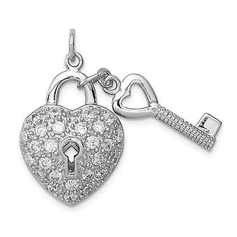 925 Sterling Silver CZ Cubic Zirconia Simulated Diamond Love Heart Lock and Key Pendant Necklace Jewelry Gifts for Women