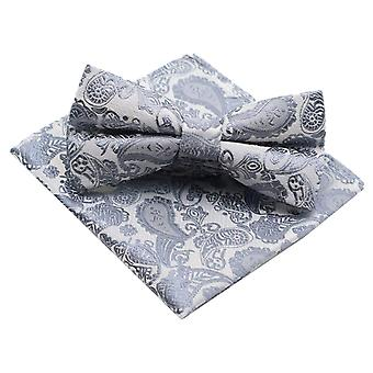 Silver & grey paisley bow tie & matching pocket square
