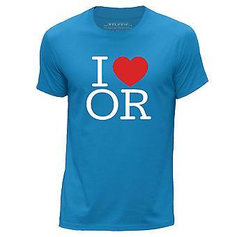 STUFF4 Men's Round Neck T-Shirt/I Heart OR / Love Oregon/Blue