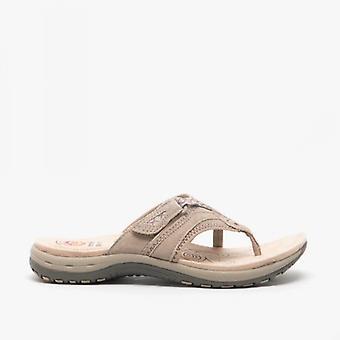 Earth Spirit Juliet Ladies Suede Toe Post Sandals New Khaki