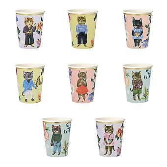 Meri Meri Floral Cat Paper Party Cups Vintage Afternoon Tea Party x 8