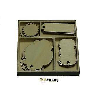 CraftEmotions Étiquettes de boîte d'ornement en bois 20 pcs - boîte 10,5 x 10,5 cm