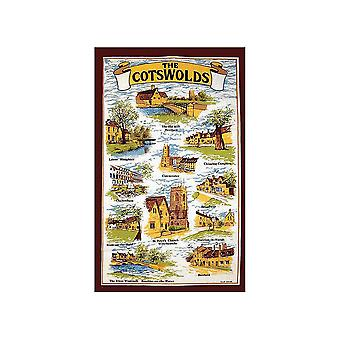 Stow Green The Cotswolds Brown Tea Towel