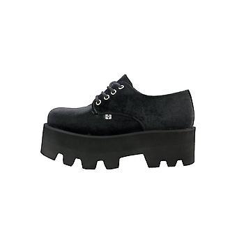 TUK Shoes Black Velvet Dino Lug Stacked Sole