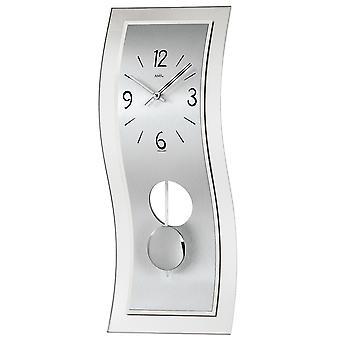 AMS 7300 Pendulum watch Quartz with pendulum silver modern curved with aluminum