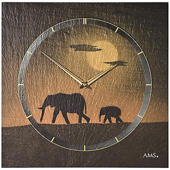 AMS 9523 wall clock kvartsi liuskekivi luonnon liuskekivi liuskekivi kello golden elephant