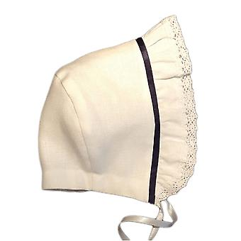 Baptême Bonnet Grace-tradition Navy In White Linen