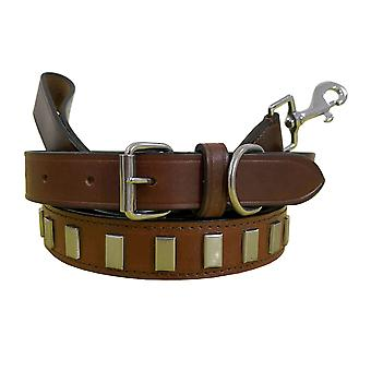 Bradley crompton genuine leather matching pair dog collar and lead set bcdc10tanbrown
