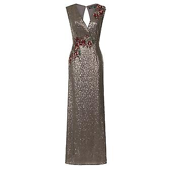 Little Mistress Womens/Ladies Mocha Sequin Maxi Dress