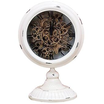 Industrial moving cogs standing clock on footed stand - black