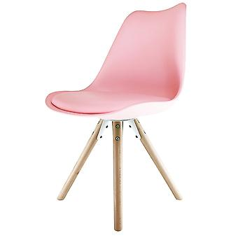 Fusion Living Eiffel Inspired Light Pink Plastic Dining Chair With Pyramid Light Wood Legs
