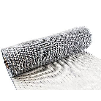 Metallic Silver 25cm x 9.1m Deco Mesh Roll for Wreath Making, Floristry & Crafts