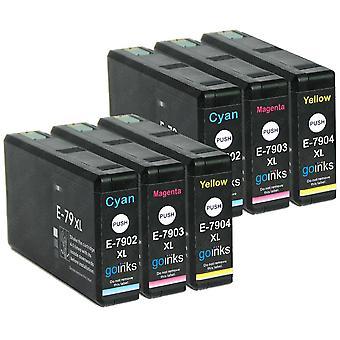 2 3 tintapatronkészlet az Epson T7906 (79XL sorozatú) C/M/Y kompatibilis/nem OEM-készleta a Go Inks (6 festékek)