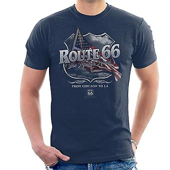 Route 66 Mother Road American Flag Men's T-Shirt