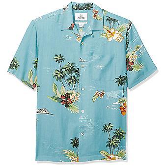 28 Palms Men's Relaxed-Fit Silk/Linnen Tropical Hawaiian Shirt, Dark Aqua Scen...