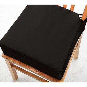 Black 4pk Seat Pad Cushions with Secure Fastening Dining Kitchen Chairs Soft Cotton Twill