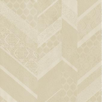 P&S International Stripe Ornament Metallic Textured Geometric Detail Cream Wallpaper