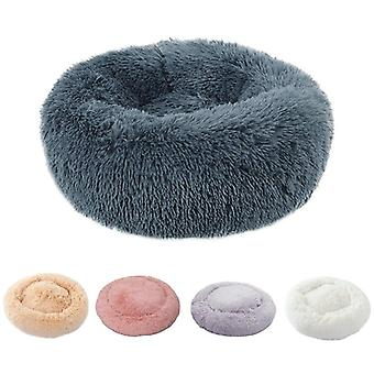Winter Warm Round Plush Pet Bed - Soft Long Plush Cat Bed, Bed For Small Dogs