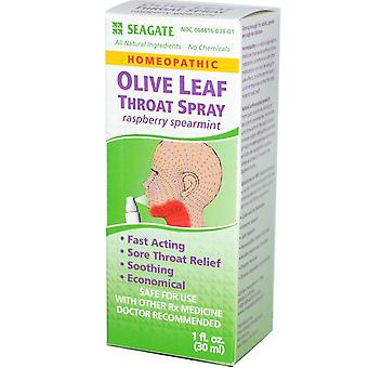 Seagate, Olive Leaf Throat Spray, Raspberry Spearmint, 1 fl oz (30 ml)