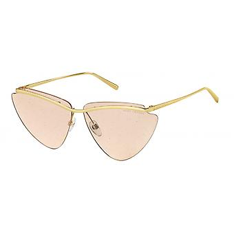 Sunglasses women butterfly gold/orange glitter