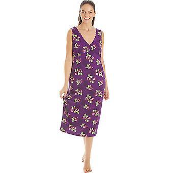 Camille Femmes Purple Floral Print Spandex Longueur genou Chemises