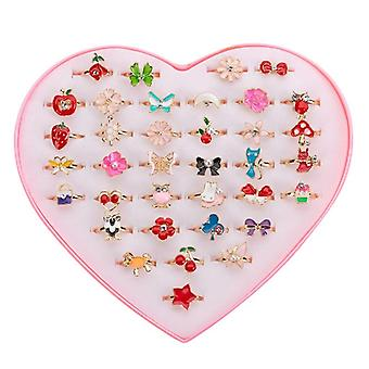 6 Pcs Sweet Cute Adjustable Rings For Children Girls- Pretend Play Makeup Toys Cartoon Crystal Jewelry Alloy Animal Enamel Ring (6pcs Random)