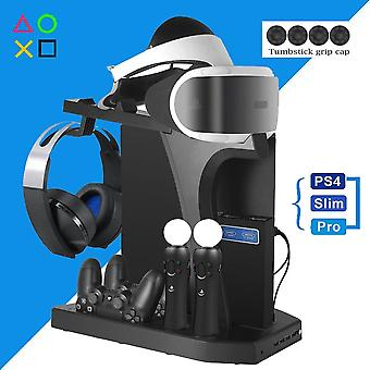 Ps4 Pro Slim Ps Vr Vertical Stand - Cooling Fan Controller Charger Headset Holder