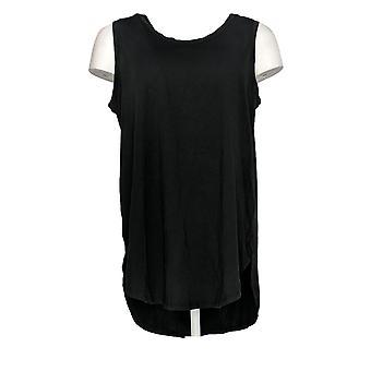 Chiunque Women's Top Cozy Knit Side Split Tank Nero A306950
