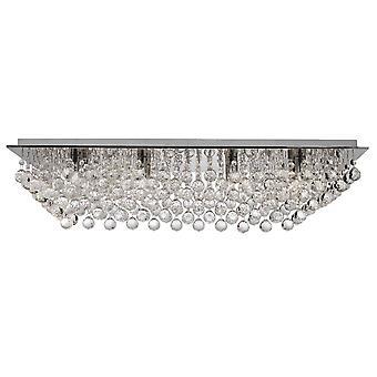 Searchlight Hanna - 8 Light Flush Ceiling Light Chrome con decoración de cristal, G9