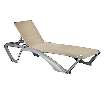 Resol Marina Garden Sun Lounger Bed - Adjustable Reclining Outdoor Patio Canvas Furniture - Neutral/Grey