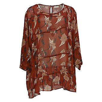 LOGO by Lori Goldstein Women's Plus Top Sheer Woven Blouse Red A346435