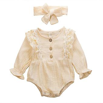 Newborn Kids Clothes Warm Cotton Linen Button Ruffled Jumpsuit