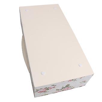 Multicolor Peony Flower Pattern Wooden Desktop Storage Box Organizer