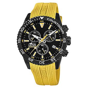 Lotus Men's Yellow Silicone Strap | Black Chronograph Dial L18672/4 Montre